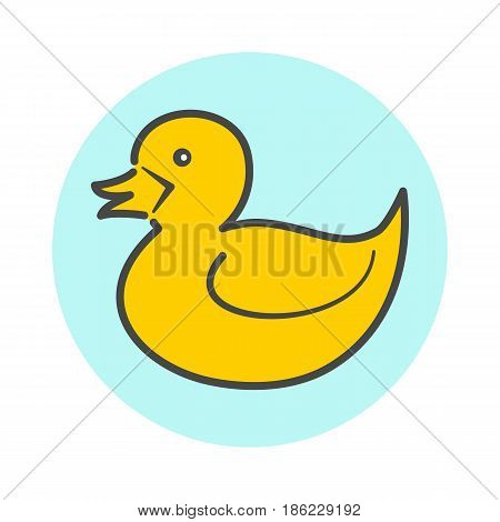 Yellow minimalistic flat duck icon, linear duck symbol