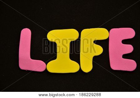 word life on a  abstract black background