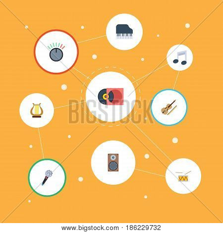 Flat Tone Symbol, Fiddle, Octave Keyboard And Other Vector Elements. Set Of Music Flat Symbols Also Includes Instrument, Karaoke, Retro Objects.