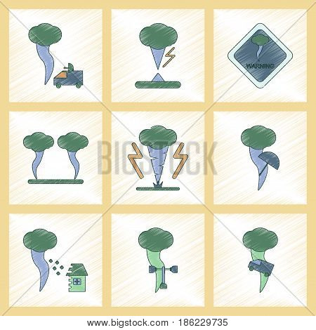 assembly flat shading style icon of natural disaster tornado