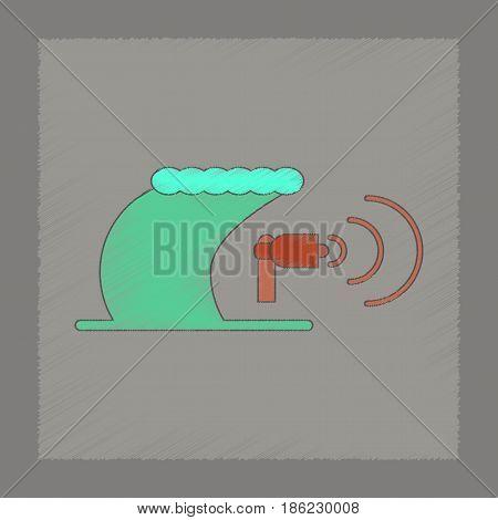 flat shading style icon of tsunami loudspeaker