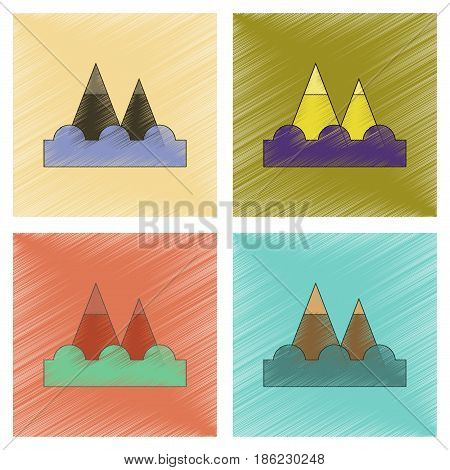 assembly flat shading style icon of tsunami mountains