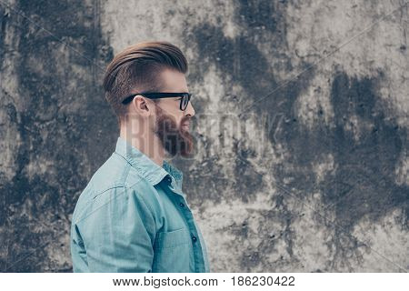 Side View Of Stylish Red Bearded Nerdy In Casual Outfit Outside. So Harsh And Virile