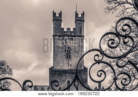 Tower of an Old St Mary Cathedral in Limerick, Ireland