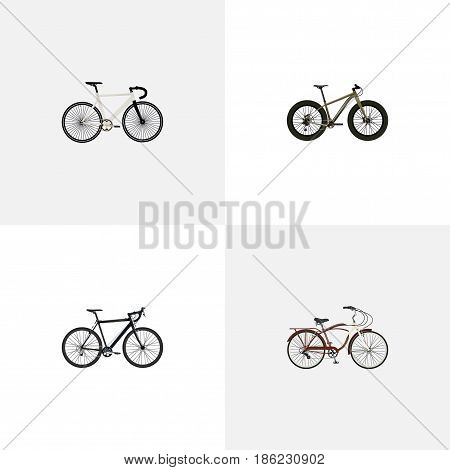Realistic Journey Bike, Road Velocity, Cyclocross Drive And Other Vector Elements. Set Of Bike Realistic Symbols Also Includes Bmx, Cyclocross, Cruise Objects.