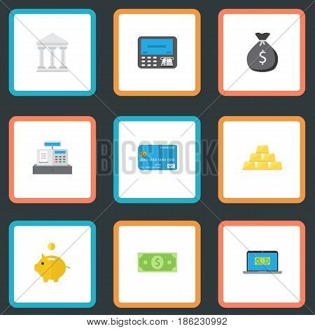Flat Till, Bank, Money And Other Vector Elements. Set Of Banking Flat Symbols Also Includes Currency, Savings, Gold Objects.