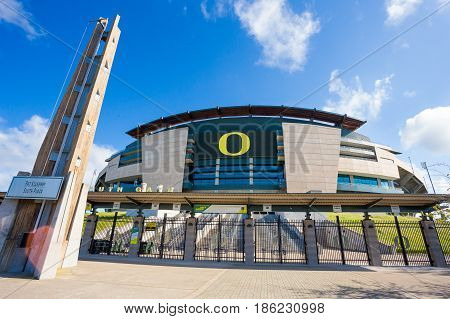 EUGENE, OR - MAY 7, 2017: Autzen Stadium on the University of Oregon campus on a sunny morning during the football off-season.