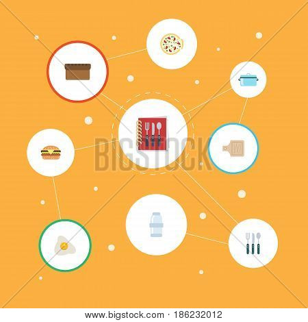 Flat Spice, Fast Food, Casserole And Other Vector Elements. Set Of Cooking Flat Symbols Also Includes Italian, Pan, Omelette Objects.