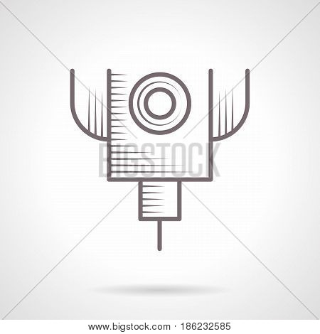 Symbol of laser cut machine. Industrial machines and modern technology. Vintage design vector icon.