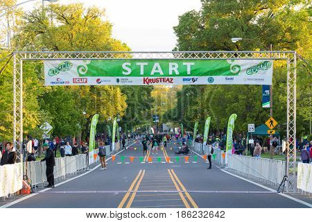 EUGENE, OR - MAY 7, 2017: Early morning preparations at the starting line for the 2017 Eugene Marathon race held on the University of Oregon campus.