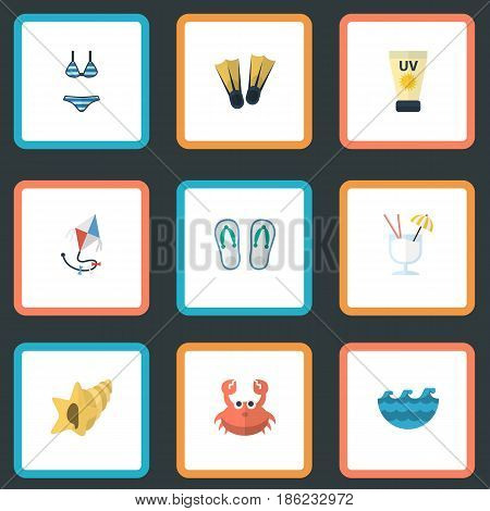 Flat Anti-Sun Cream, Fly, Beachwear And Other Vector Elements. Set Of Beach Flat Symbols Also Includes Alcohol, Lobster, Waves Objects.