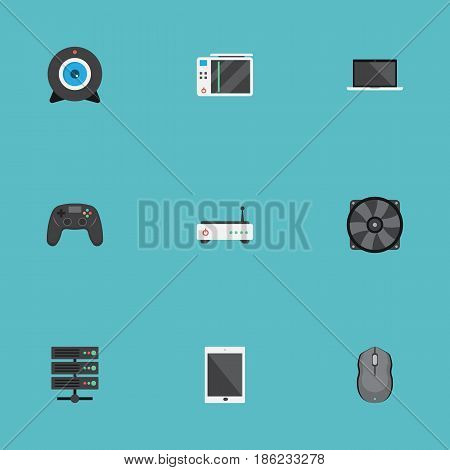 Flat Control Device, Web Cam, Joystick And Other Vector Elements. Set Of Notebook Flat Symbols Also Includes Ventilator, Camera, Router Objects.
