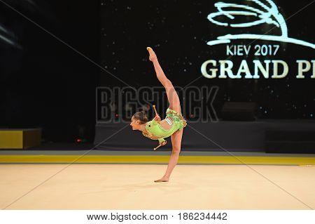 Gymnast Perform At Rhythmic Gymnastics Competition