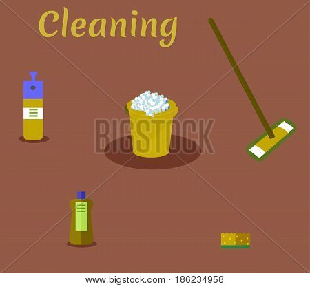 Tools for housekeeping: a mustard bucket with soapy foam, MOP with handle and cloth, bottle of detergent with a blue cover, spray and sponge. Vector illustration. Cleaning