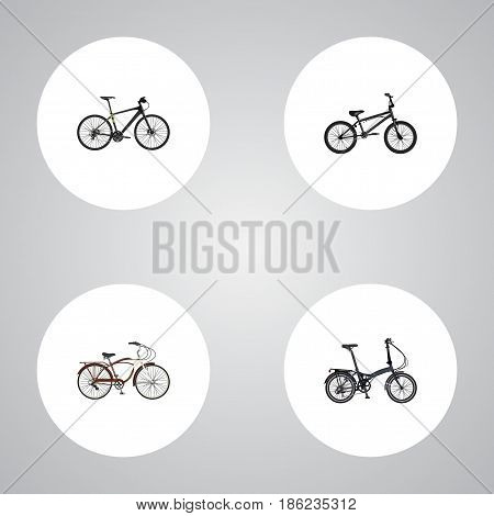 Realistic Folding Sport-Cycle, Hybrid Velocipede, Journey Bike And Other Vector Elements. Set Of Lifestyle Realistic Symbols Also Includes Extreme, Hybrid, Training Objects.