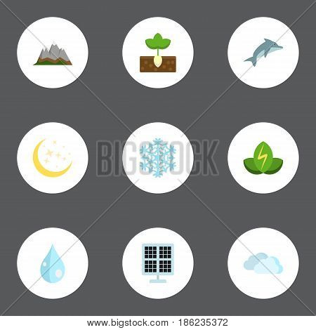 Flat Playful Fish, Night, Water And Other Vector Elements. Set Of Eco Flat Symbols Also Includes Snowflake, Snow, Photocell Objects.