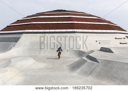 Haderslev, Denmark - May 29, 2016: StreetDome building is a unique world class skatepark and street sport facility in Haderslev, Denmark