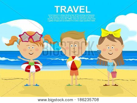 Cute children standing on the beach holding inflatable rings, ball, pail and shovel