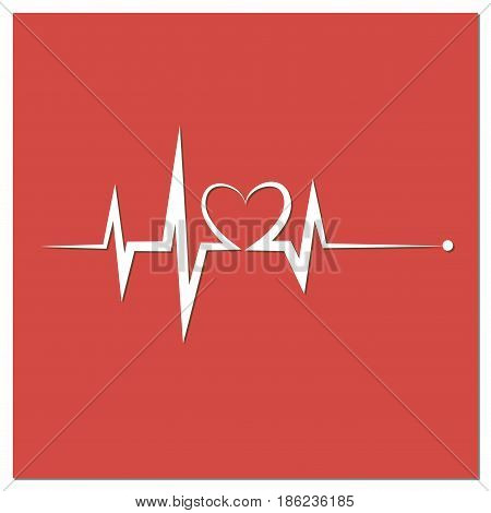 Heartbeat Line Heart Cardio. Red heart icon with sign heartbeat. Vector illustration. Heart sign in flat design.
