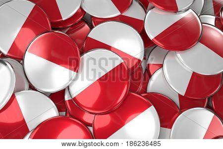 Monaco Badges Background - Pile Of Monegasque Flag Buttons.