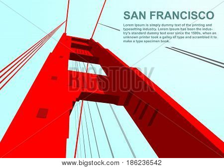 Bottom view of golden gate bridge in San Francisco and copyspace for text