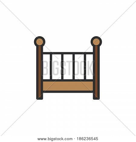 Cot crib filled outline icon line vector sign linear colorful pictogram. Symbol logo illustration. Pixel perfect