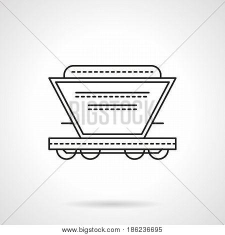 Symbol of hopper rail car. Railroad transportation of grain, coal, sand and other bulk cargoes. Flat black line vector icon.