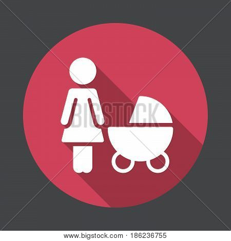 Mother with baby pram flat icon. Round colorful button circular vector sign with long shadow effect. Flat style design