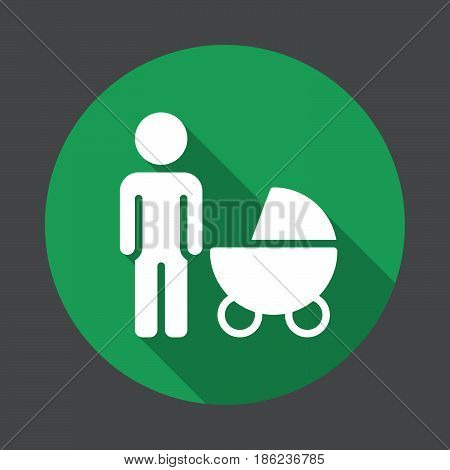 Father with baby pram flat icon. Round colorful button circular vector sign with long shadow effect. Flat style design