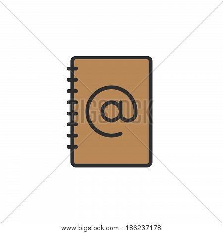 Address book filled outline icon line vector sign linear colorful pictogram. Symbol logo illustration. Pixel perfect
