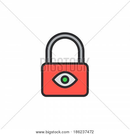 Lock with eye filled outline icon line vector sign linear colorful pictogram. Privacy protection symbol logo illustration. Pixel perfect