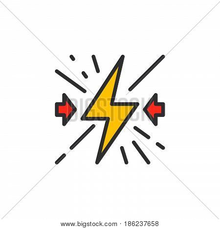 Collision filled outline icon line vector sign linear colorful pictogram. Symbol logo illustration. Pixel perfect