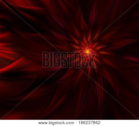 An abstract computer generated modern fractal design on dark background. Mysterious fire flower. Spiral dance of fire