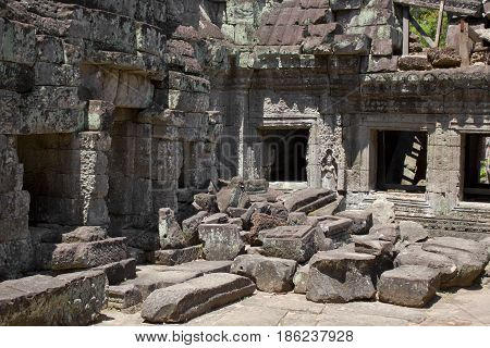 Some rubble in Preah Khan Temple Cambodia.