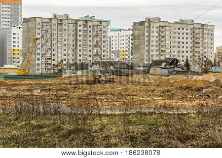 Belarus Minsk - 21.04.201: Demolition of the private sector and construction of a new microdistrict with high-rise buildings
