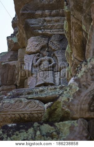 Relief detail at Preah Khan Temple Cambodia.