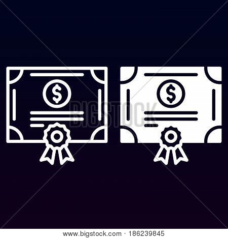 Stock share certificate line and solid icon outline and filled vector sign linear and full pictogram isolated on white. Bonds securities symbol logo illustration