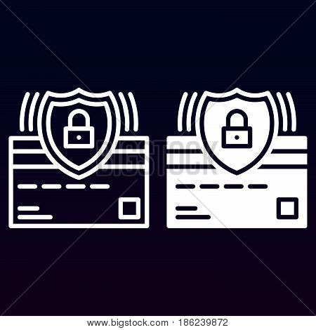 Credit card and protection shield line and solid icon outline and filled vector sign linear and full pictogram isolated on white. Secure payment symbol logo illustration