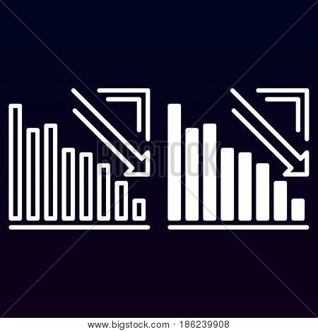 Arrow graph going down line and solid icon outline and filled vector sign linear and full pictogram isolated on white. Crisis symbol logo illustration