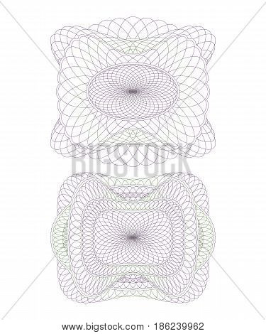 Two Decorative Guilloche Rosettes. Set of Isolated Objects on White Background.