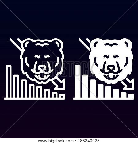 Stock market going down line and solid icon outline and filled vector sign linear and full pictogram isolated on white. Bear trend symbol logo illustration