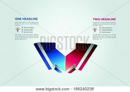 two vector infographic step element diagram presentation template business design graph label chart option banner plan data concept information 2 graphic process progress icon part infochart arrow order symbol sign 3d number scheme info