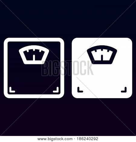 Body weight scale line and solid icon outline and filled vector sign linear and full pictogram isolated on white. Symbol logo illustration
