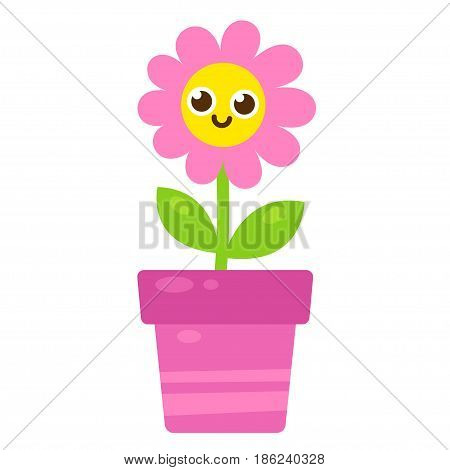 Cute cartoon pink flower with smiling face in flower pot. Vector illustration in simple modern flat style.