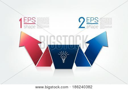 Arrow divided in two arrows. Template scheme diagram chart graph presentation. Business concept with 2 steps options processes.