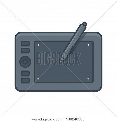 Graphic tablet with stylus vector line icon in modern flat style.