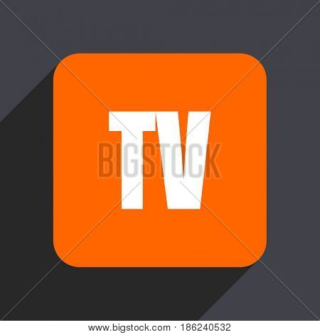 Tv orange flat design web icon isolated on gray background