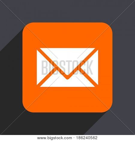 Email orange flat design web icon isolated on gray background