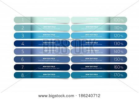 Table schedule design template with 8 row. Vector banner.
