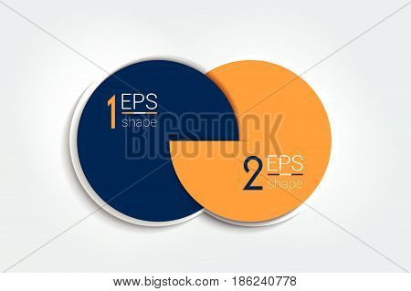 Two connected circles chart. 2 steps design infographic number option. 3D circle style.
